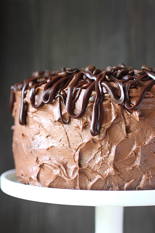 Espresso Chocolate Mousse Layer Cake -- www.mind-over-batter.com