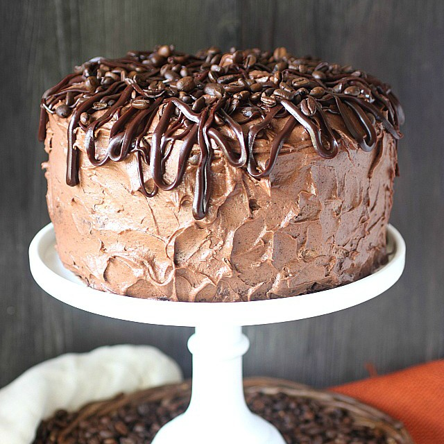 moist chocolate cake, is filled with a rich espresso chocolate mousse ...