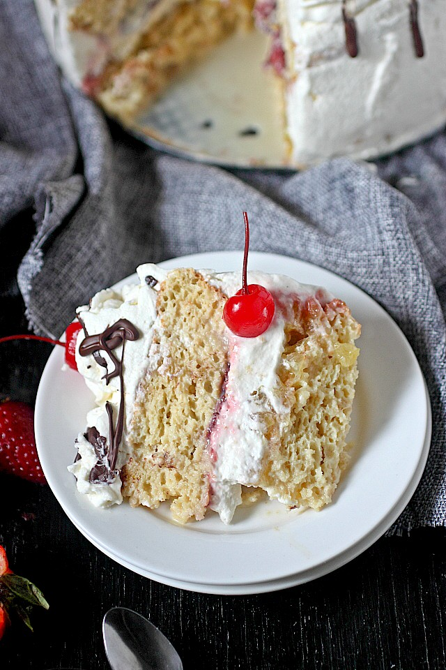 Banana Split Tres Leches Cake -- www.mind-over-batter.com